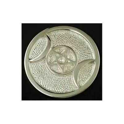 Silver Plated Brass Triple Moon altar tile 3 1/2