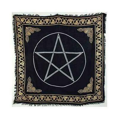 Gold Bordered Pentagram altar cloth 36