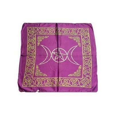 Purple Triple Moon Pentagram altar cloth