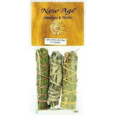 Cedar, White & Blue Sage smudge stick 3-Pack 4