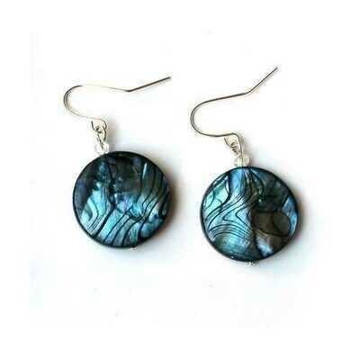 Blue Striped Shell Earrings - Natural Artist