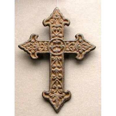 Solid Cast Iron Fleur De Lis Cross