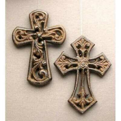 Unique Set of 4 Cast Iron Crosses