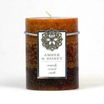 Amber & Honey Pillar Candle 3X4