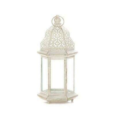 Large Distressed White Lantern