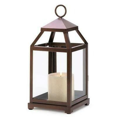 Bronze Contemporary Candle Lantern