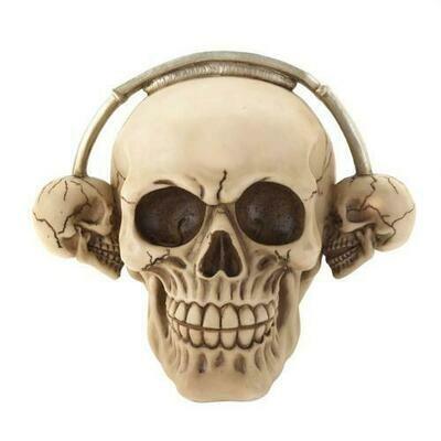 Rockin Headphone Skull Figurine