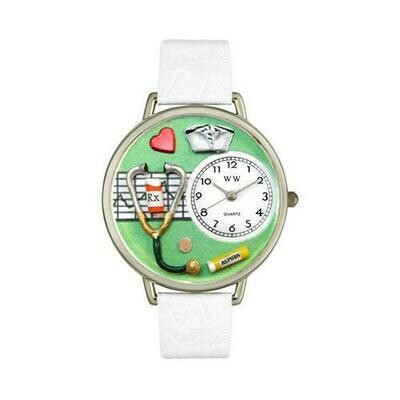 Nurse Green Watch in Silver (Large)