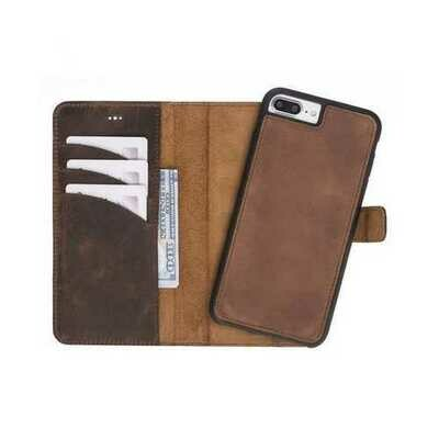 Leather Detachable Wallet Case for iPhone 7/7+/8/8+, Brown