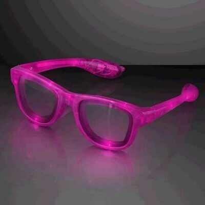 Pink LED Nerd Glasses