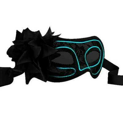Electro Luminescent Wire Black Lace Party Mask