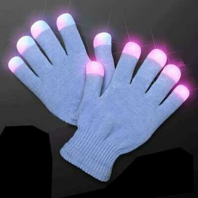 Child Size Icy Blue Gloves with White Pink and Blue LEDs