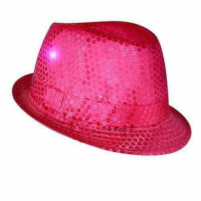 LED Flashing Fedora Hat with Pink Sequins
