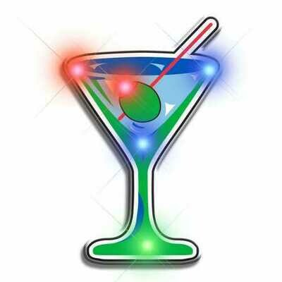 Well Martini Flashing Body Light Lapel Pins