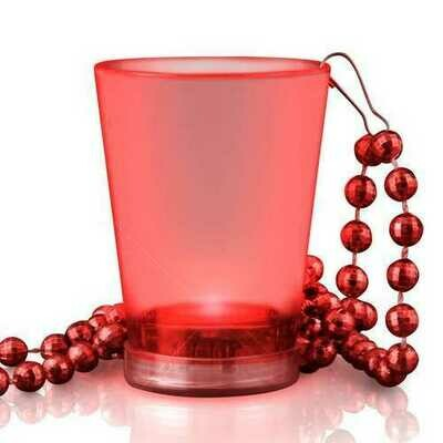 Light Up Red Shot Glass on Red Beaded Necklaces