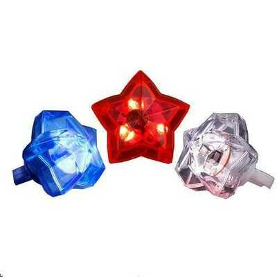 Huge Gem Star Ring Red White Blue Pack of 24