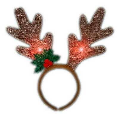 LED Golden Reindeer Antlers Headband
