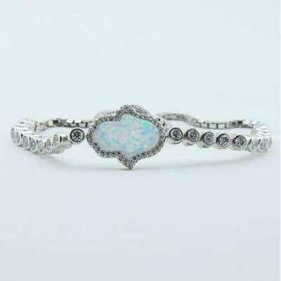 Handmade Opal Hamsa Charm Bracelet