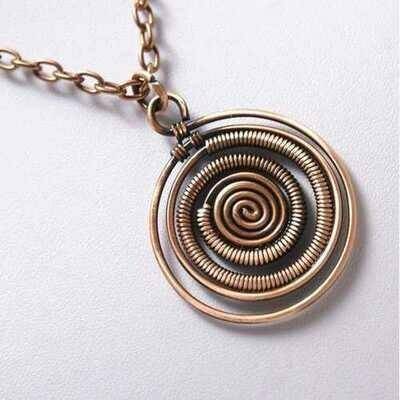 Handmade Antiqued Copper Spiral Pendant Necklace