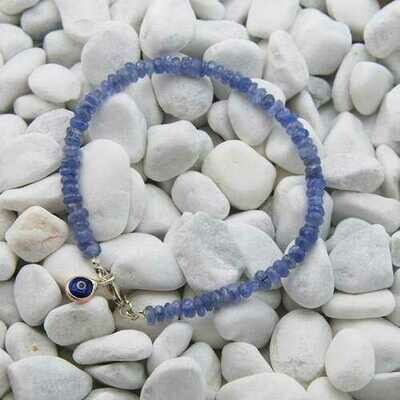 Handmade Tanzanite Gem Evil Eye Bead Stacking Bracelet