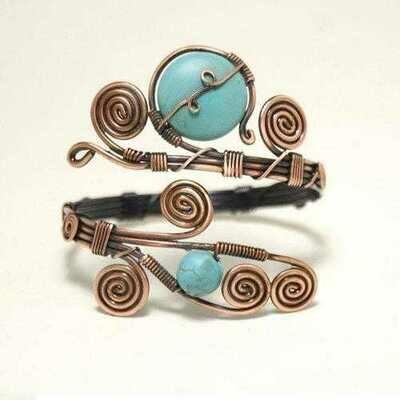 Handmade Copper Turquoise Cuff Bracelet
