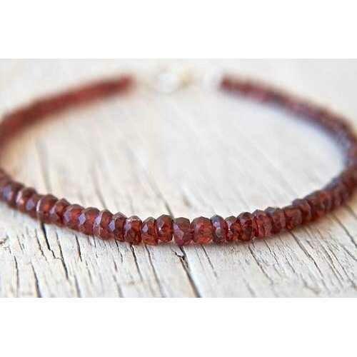 Handmade Diamond Cut Red Garnet Beads Stacking Bracelet