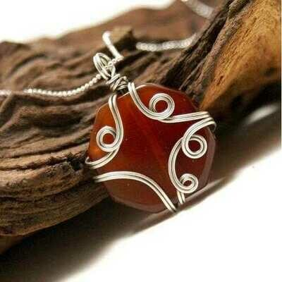 Handmade Brown Agate Stone Pendant Necklace