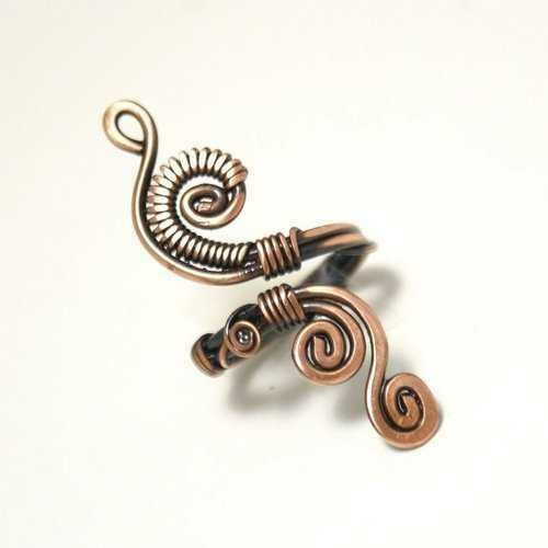 Handmade Copper Wire Wrapped Adjustable Ring