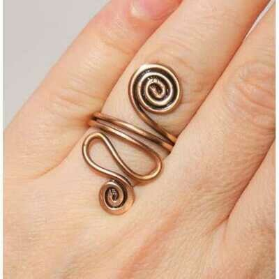 Handmade Copper Wire Wrapped Adjustable Boho Ring