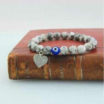 Handmade Evil Eye Heart Charm Bracelet Jasper