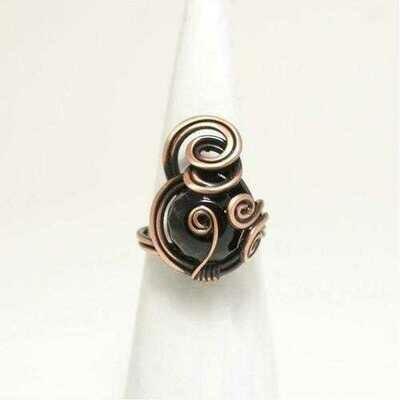 Handmade Black Onyx Wire Copper Ring