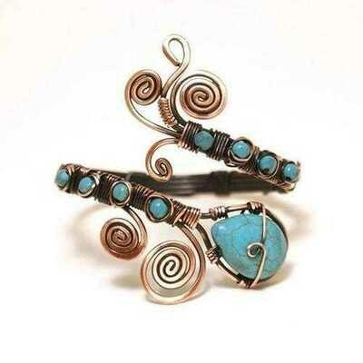 Handmade Copper Wire Wrap Turquoise Cuff Bracelet