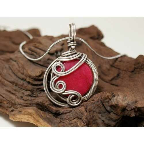 Handmade Wire Wrap Ruby Pendant Necklace