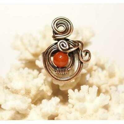 Handmade Copper Wire Sunstone Ring