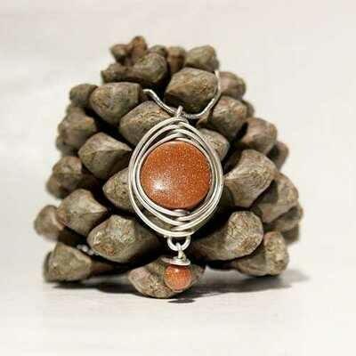Handmade Wire Wrapped Goldstone Boho Necklace