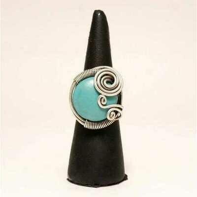 Handmade Turquoise Gemstone Adjustable Boho Ring