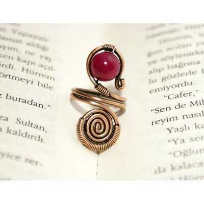 Handmade Jade Stone Copper Wire Wrapped Ring