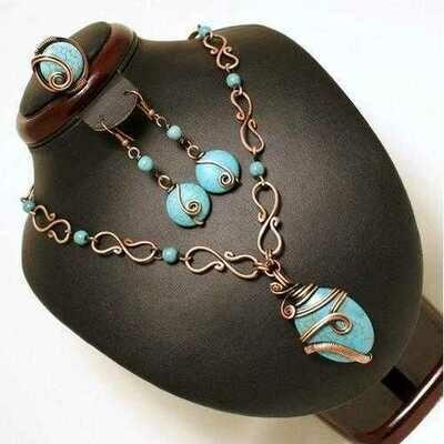 Handmade Wire Wrap Turquoise Jewelry Set
