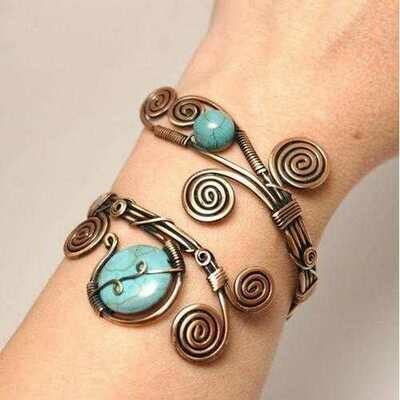 Handmade Wire Wrap Turquoise Cuff Bracelet