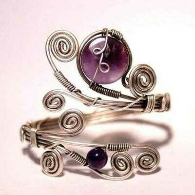 Handmade Purple Amethyst Cuff Bracelet