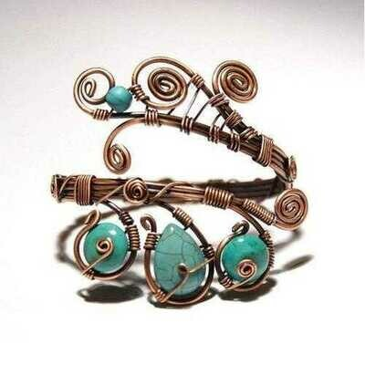 Handmade Wire Wrapped Turquoise Cuff Bracelet