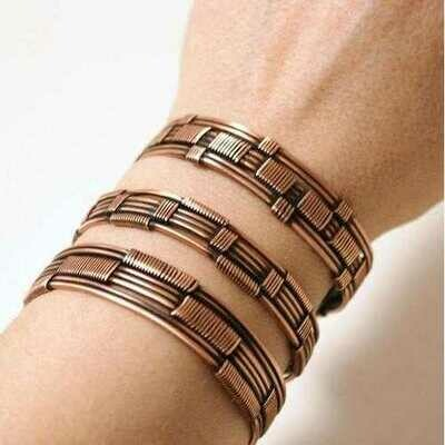 Handmade Copper Wire Wrapped Cuff Bracelet Set