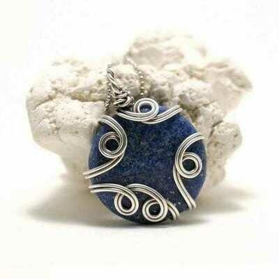 Handmade Wire Wrapped Lapis Lazuli Pendant Necklace