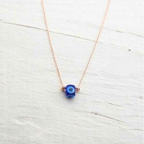 Handmade Minimalist Cubic Evil Eye Silver Necklace
