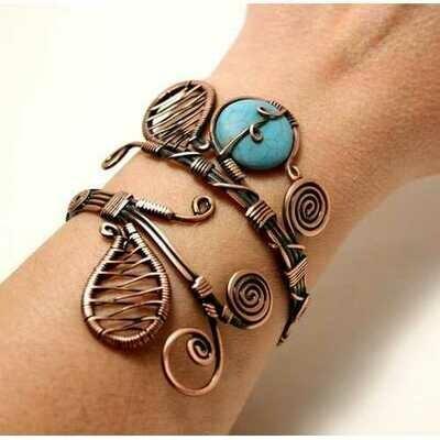 Handmade Turquoise Healing Stone Cuff Bracelet