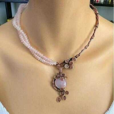 Handmade Rose Quartz Copper 7th anniversary Necklace