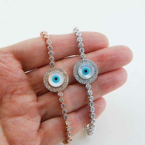 Handmade Evil Eye Bracelet, Mother of Pearl, Zirconia
