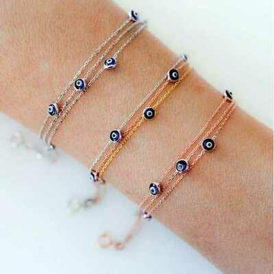 Handmade Evil Eye Bracelet Sterling Silver
