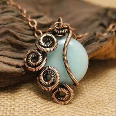 Handmade Wire Wrap Aventurine Pendant Necklace