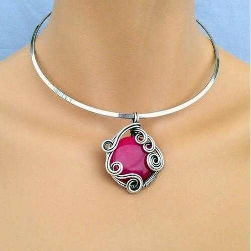 Handmade Pink Ruby Stone Pendant Boho Choker Necklace